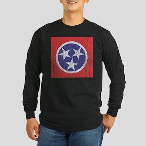 Faded Tennessee Flag Long Sleeve Dark T-Shirt