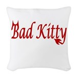 Femdom Bad kitty Woven Throw Pillow