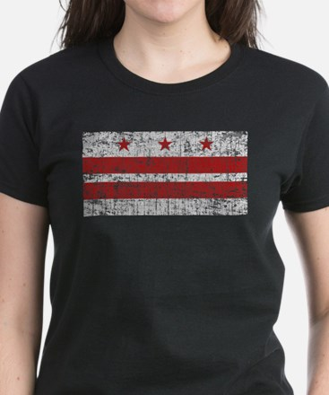 Aged Washington D.C. Flag Women's Dark T-Shirt
