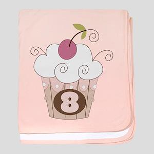 8th Birthday Cupcake baby blanket