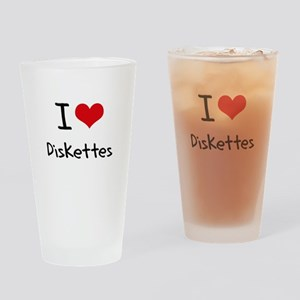 I Love Diskettes Drinking Glass