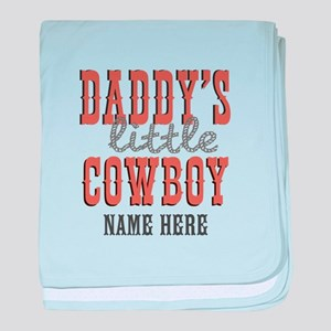 Add Name Daddy's Little Cowboy baby blanket