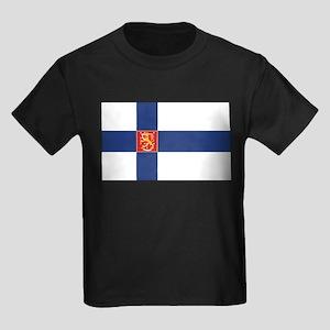 Finland State Flag Kids Dark T-Shirt