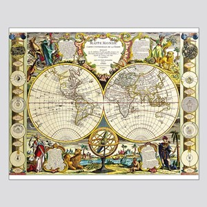 Vintage world map posters cafepress world map 1755 small poster gumiabroncs Image collections