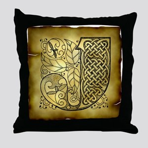 Celtic Letter J Throw Pillow