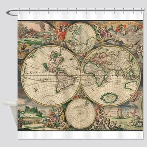 World Map 1671 Shower Curtain