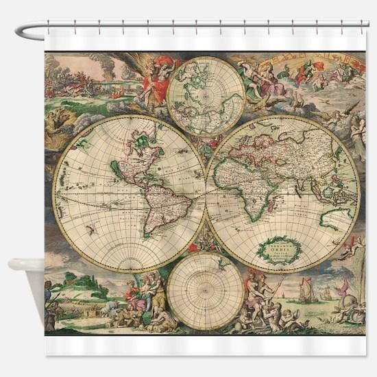 World Map 1671 Shower Curtain