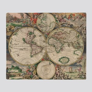 World Map 1671 Throw Blanket