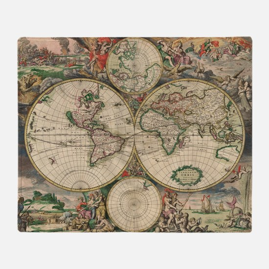 World Map 1671 Throw Blanket