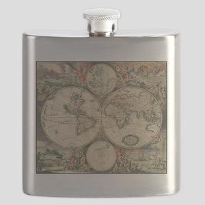World Map 1671 Flask