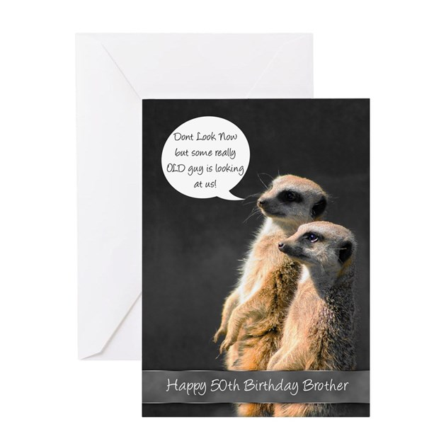 Meerkat 50th Birthday Card For Brother By MoonlakeDesigns