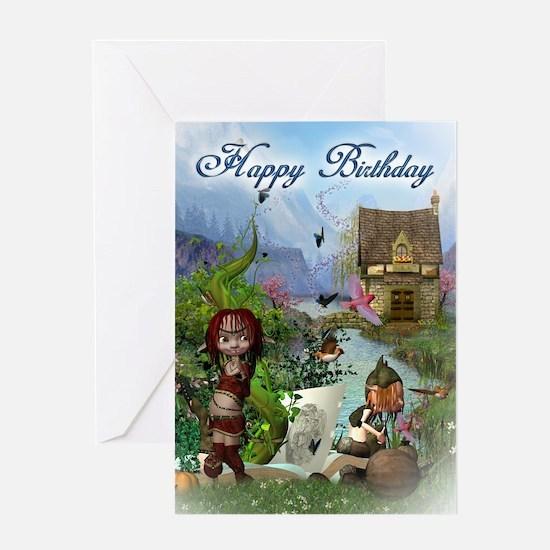 Fantasy Elf Fairytale Birthday Card Greeting Cards