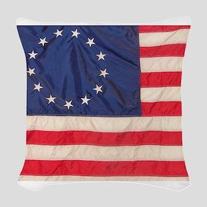 AMERICAN COLONIAL FLAG Woven Throw Pillow