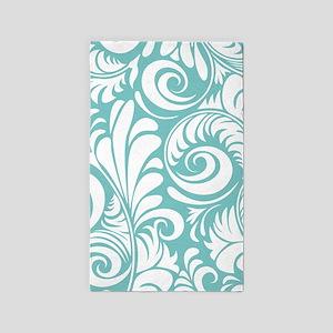 Aqua & White Swirls 3'x5' Area Rug