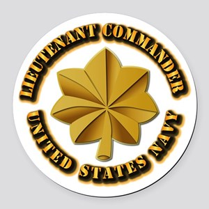 Navy - LCDR Round Car Magnet