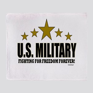 U.S. Military Fighting For Freedom F Throw Blanket