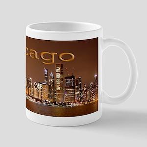 Chicago Over Lakefront Night Scene Mug