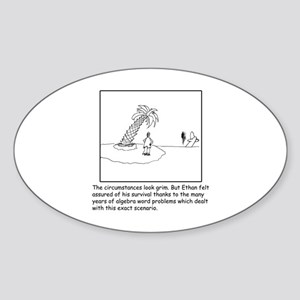 Deserted Algebra Island (b/w) Sticker (Oval)