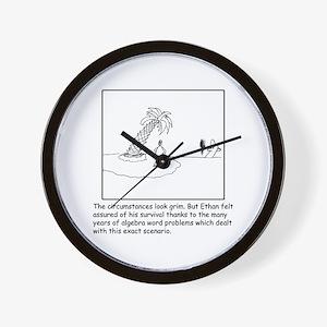 Deserted Algebra Island (b/w) Wall Clock