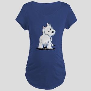 KiniArt Fluffybutt Westie Maternity Dark T-Shirt