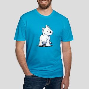 KiniArt Fluffybutt Wes Men's Fitted T-Shirt (dark)