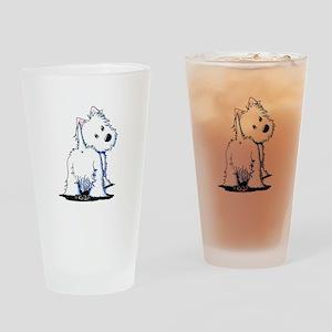 KiniArt Fluffybutt Westie Drinking Glass
