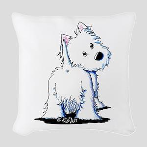 KiniArt Fluffybutt Westie Woven Throw Pillow