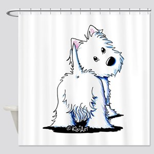 KiniArt Fluffybutt Westie Shower Curtain