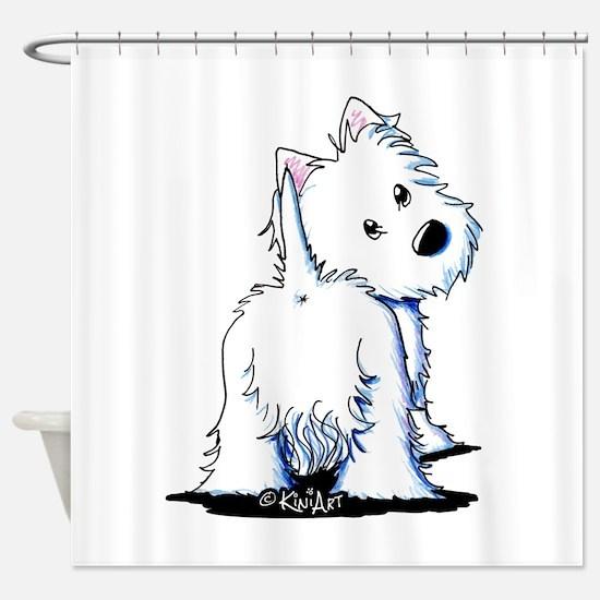 KiniArt Fluffybutt Westie Shower Curtain