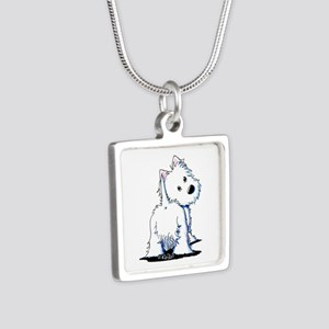 KiniArt Fluffybutt Westie Silver Square Necklace