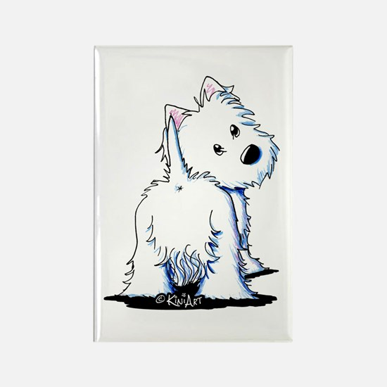 KiniArt Fluffybutt Westie Rectangle Magnet