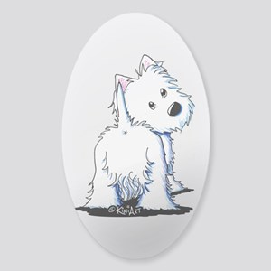 KiniArt Fluffybutt Westie Sticker (Oval)