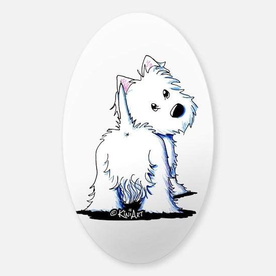 KiniArt Fluffybutt Westie Sticker (Oval)