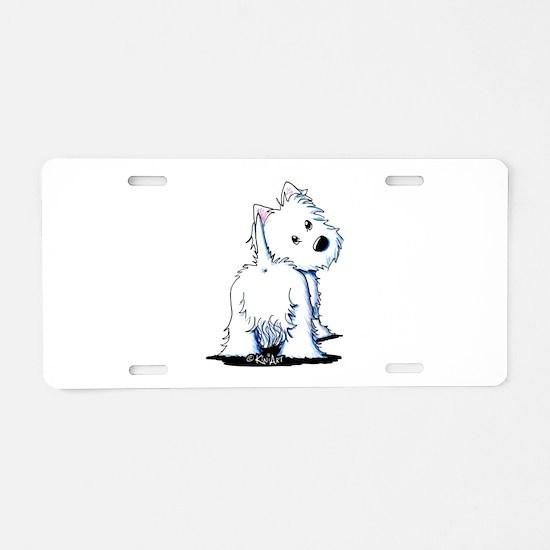 KiniArt Fluffybutt Westie Aluminum License Plate
