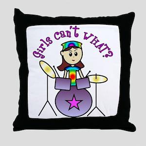 Light Girl Drummer Throw Pillow