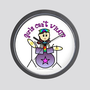 Light Girl Drummer Wall Clock
