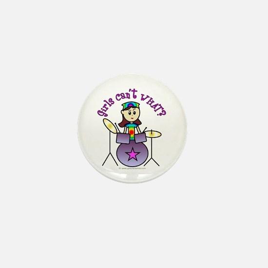 Light Girl Drummer Mini Button