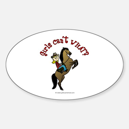 Light Cowgirl Oval Decal
