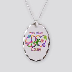 Peace Love Lizards Necklace Oval Charm