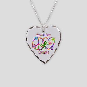 Peace Love Lizards Necklace Heart Charm