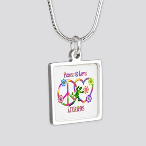 Peace Love Lizards Silver Square Necklace