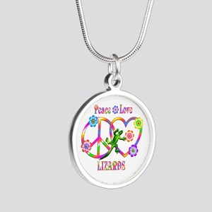 Peace Love Lizards Silver Round Necklace
