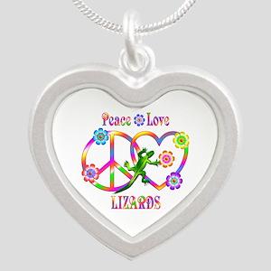 Peace Love Lizards Silver Heart Necklace