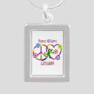 Peace Love Lizards Silver Portrait Necklace