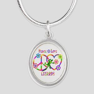 Peace Love Lizards Silver Oval Necklace