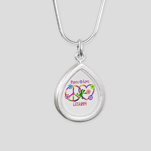 Peace Love Lizards Silver Teardrop Necklace