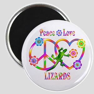 Peace Love Lizards Magnet