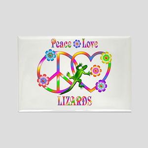 Peace Love Lizards Rectangle Magnet