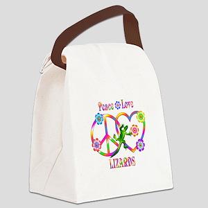 Peace Love Lizards Canvas Lunch Bag