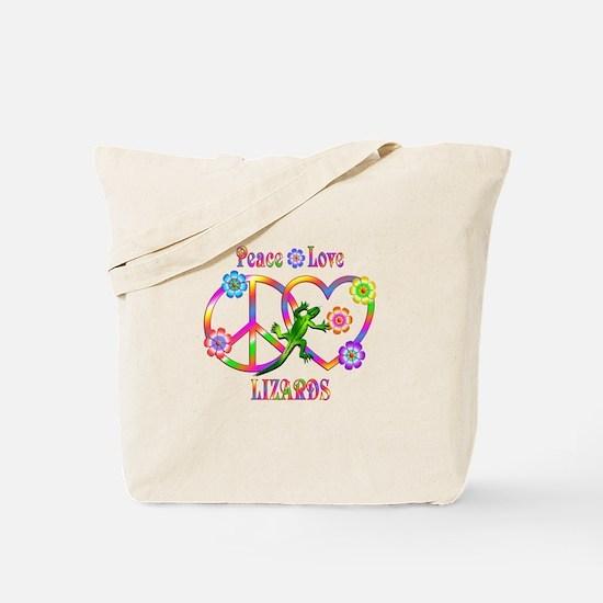 Peace Love Lizards Tote Bag